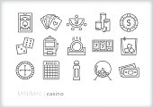 Set of 15 line icons of gambling, card games, slot machines, bingo and other casino items including cocktail drink, chips, cards, and dice
