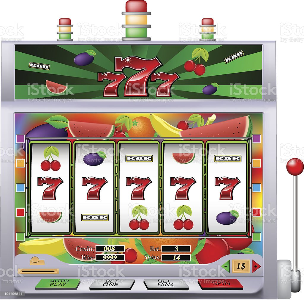 casino lucky seven slot machine vector art illustration
