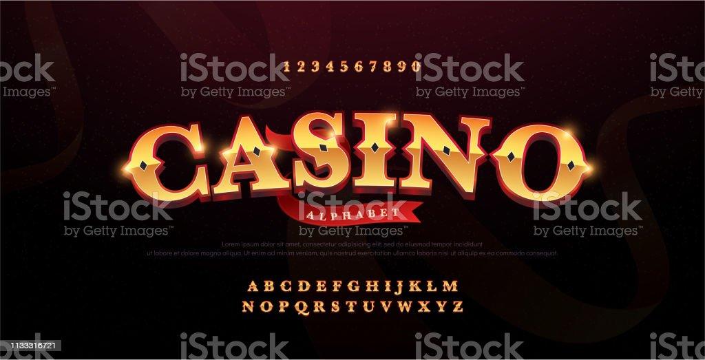Casino Luxury 3d Alphabet Gold Logotype With Royal Font