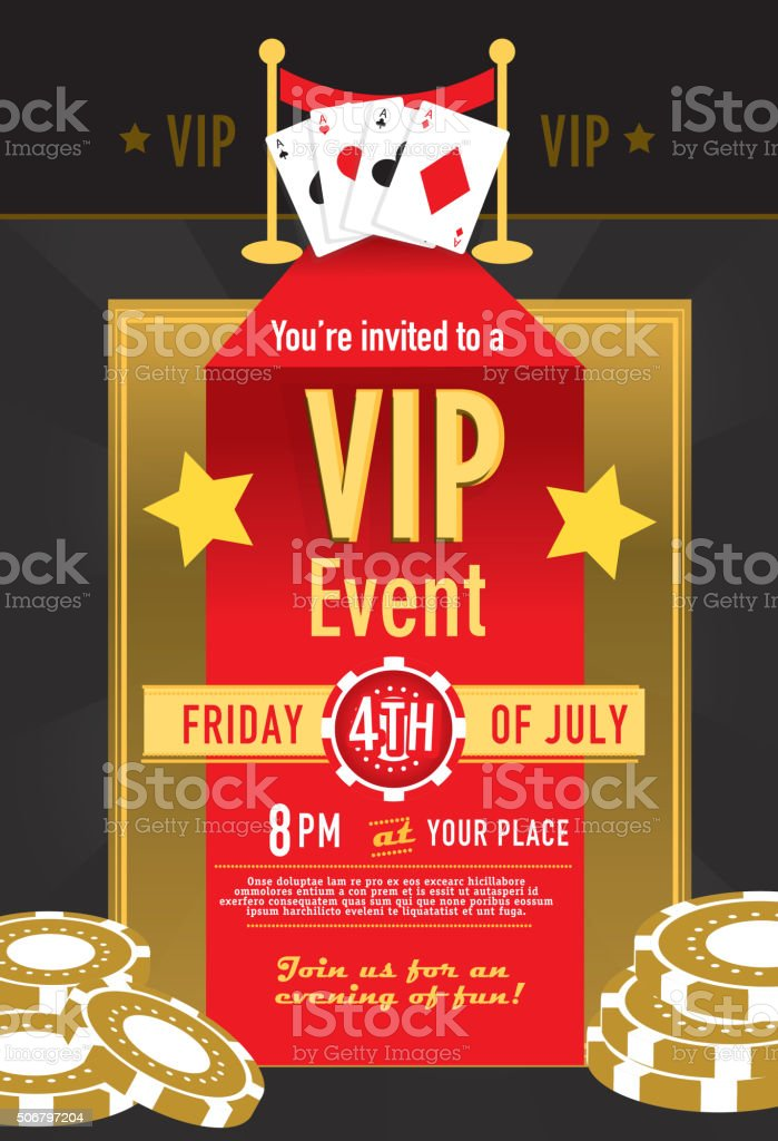 VIP Casino night invitation design template Vector illustration of a Las Vegas VIP gambling party and Casino game night invitation design template. Black background. Includes sample text design that reads with fanned Ace cards. Poker chips. Game Night, Poker party, card games, leisure games, gambling, betting, gamble, wager, Casino night fun. Illustrator 10 eps file with high resolution jpg. Ace stock vector