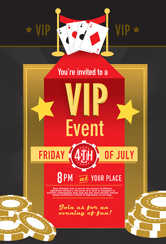 Vip Casino Night Invitation Design Template Stock Illustration - Download Image Now