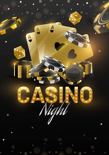 Casino Night template or flyer design with golden playing cards, dices and poker chips on black light effect background.