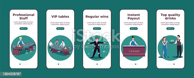 Casino onboarding mobile app screen flat vector template. Professional staff. Regular wins. Walkthrough website steps with isolated characters on white. UX, UI, GUI smartphone cartoon interface