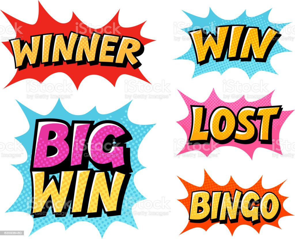 Casino or game icons. Lettering such as win, winner, lost vector art illustration