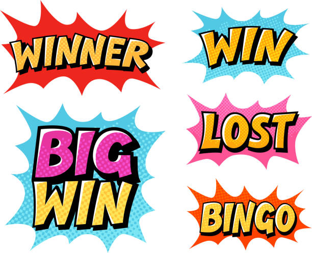 casino or game icons. lettering such as win, winner, lost - lost stock illustrations