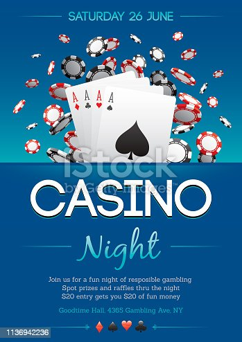 Casino night party poster invitation design
