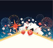 Gambling themed design with fireworks in the background.
