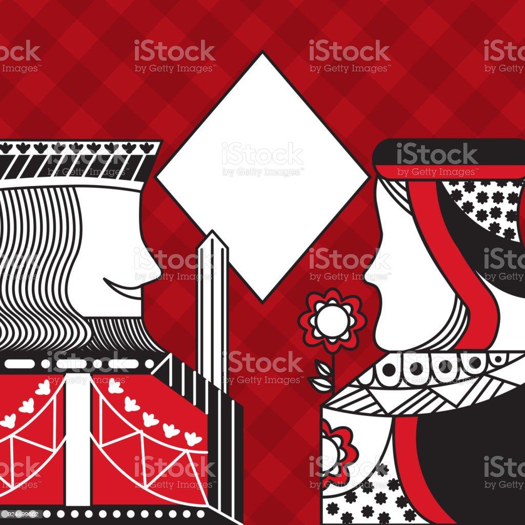 rey y Reina de poker de casino diamante fondo a cuadros rojo juego de tarjeta - ilustración de arte vectorial