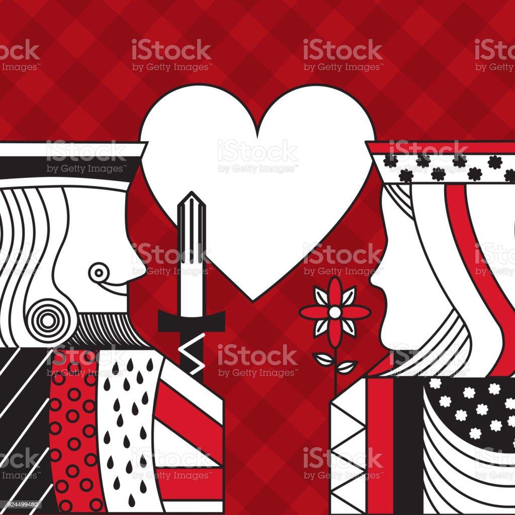 rey y Reina de poker casino corazón fondo a cuadros rojo juego de tarjeta - ilustración de arte vectorial