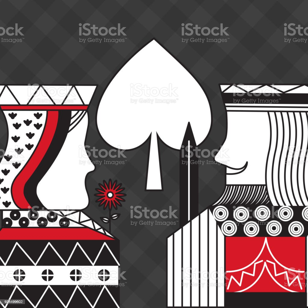 casino poker queen and king spade card game black checkered background vector art illustration
