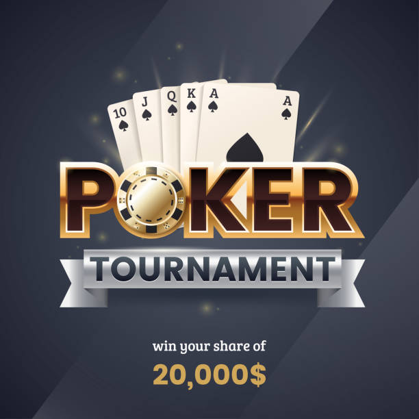 Casino poker tournament banner. Gold text with a playing chip and cards. Royal flush poker combination. Applicable for promotion ticket, flyer. Vector illustration. Casino poker tournament banner. Gold text with a playing chip and cards. Royal flush poker combination. Applicable for promotion ticket, flyer. Vector illustration. poker stock illustrations