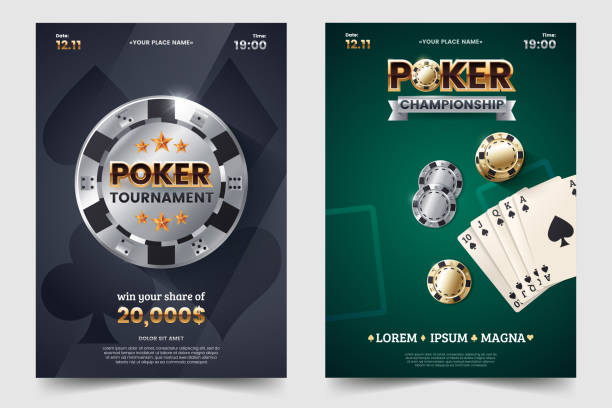 Casino poker tournament invatation design. Gold text with playing chip and cards. Poker party a4 flyer template. Applicable for promotion poster, banner. Vector illustration. Casino poker tournament invatation design. Gold text with playing chip and cards. Poker party a4 flyer template. Applicable for promotion poster, banner. Vector illustration. gambling chip stock illustrations