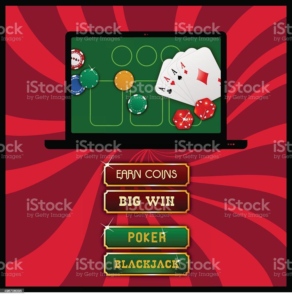 Casino Poker UI Design vector art illustration
