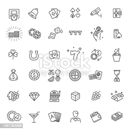 Simple Set of Gambling Related Vector Line Icons.