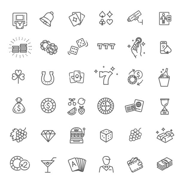 Casino related vector icon set. Well-crafted sign in thin line style Simple Set of Gambling Related Vector Line Icons. gambling stock illustrations