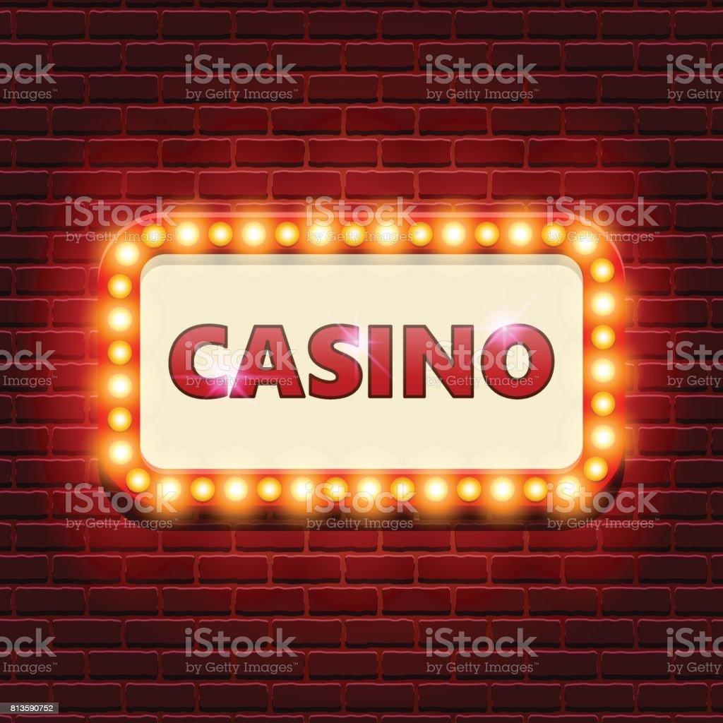 Casino retro banner template with lightbulb glowing - ilustração de arte vetorial