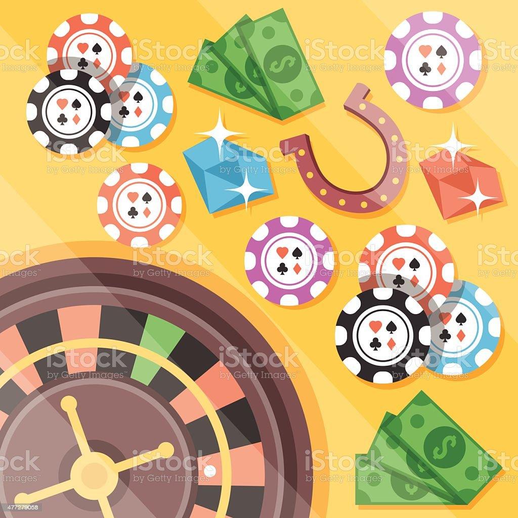 Casino roulette, gambling flat illustration concepts set vector art illustration