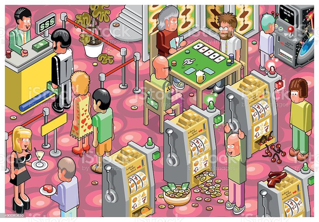 Casino scene vector art illustration