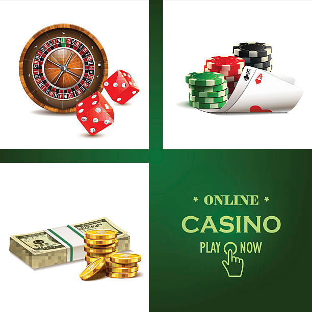Casino set. Casino set with realistic cards, dice, roulette and money. american one hundred dollar bill stock illustrations