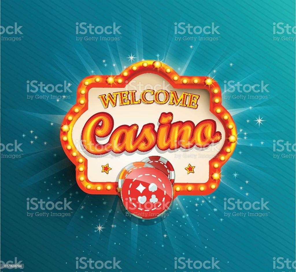 Casino shining retro light frame. vector art illustration