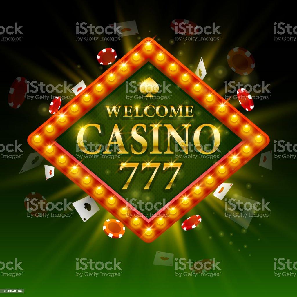 ようこそカジノの看板。ビルボード 777。 ベクターアートイラスト