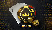 Casino sing. Vector 3d illustration. Four playing cards, gambling chips with golden crown and dices on black background with bursting glitters. Casino banner concept.