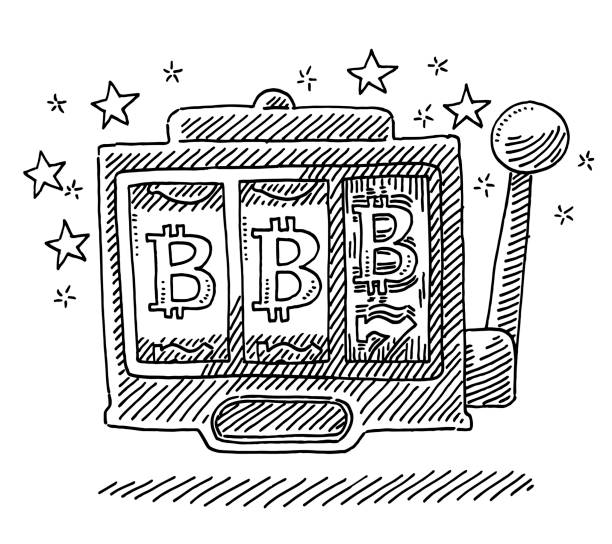 Casino Slot Machine Bitcoin Symbol Drawing Hand-drawn vector drawing of a Casino Slot Machine with a Bitcoin Symbol. Black-and-White sketch on a transparent background (.eps-file). Included files are EPS (v10) and Hi-Res JPG. game stock illustrations