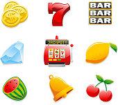 Casino Slot Machine Icons, with Coins, Seven, Bar, Diamond, Jackpot, Lemon, watermelon, bell and cherry. Vector illustration cartoon.
