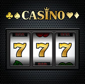 Casino Slot Machine Sevens on Black Background. This 100% editable royalty free vector graphic features a classic slot machine with triple sevens in focus. The triple seven jackpot is in gold and white on black texture background. Image download includes vector graphic and jpg file.