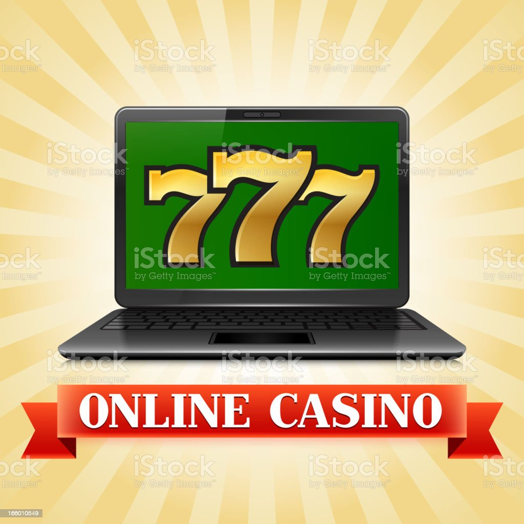Casino Slot Machine Sevens on Computer Laptop royalty-free stock vector art
