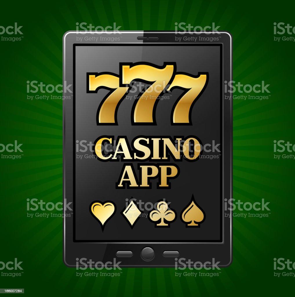 Casino Slot Machine Sevens on Digital Tablet royalty-free stock vector art