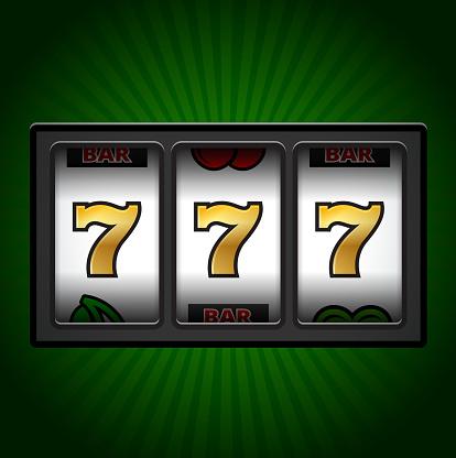 Casino Slot Machine Sevens on Green Background