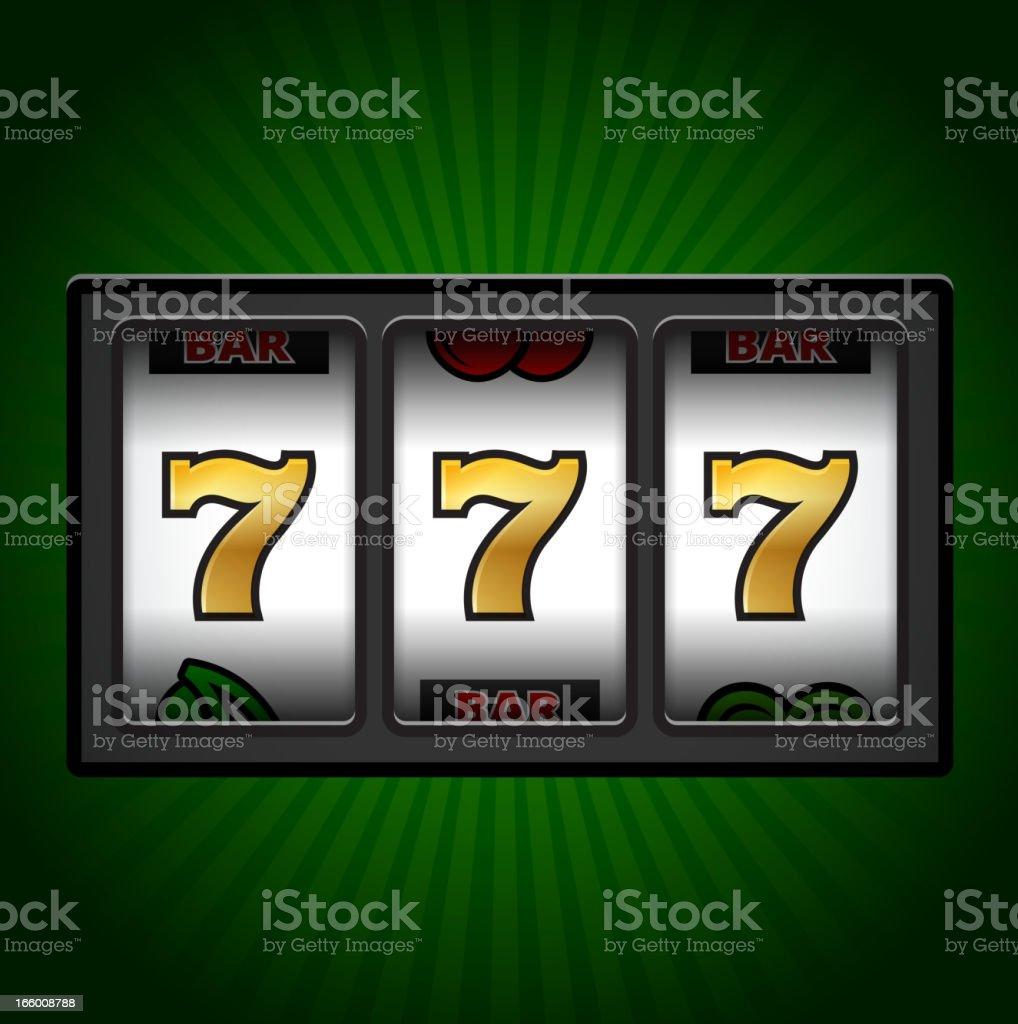 Casino de Machine à sous sept sur fond vert - Illustration vectorielle