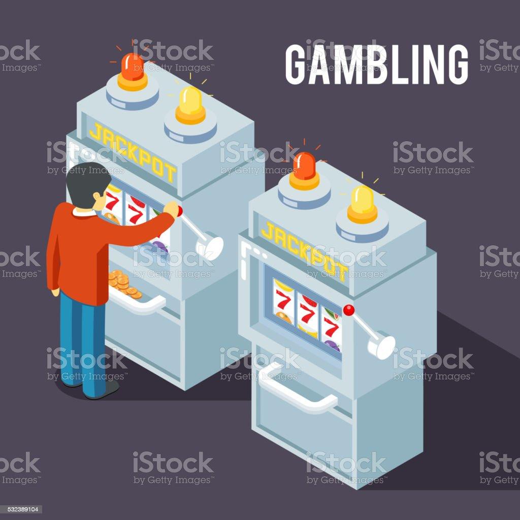 Casino slot machine. Using fruit jackpot vector isometric 3d illustration vector art illustration