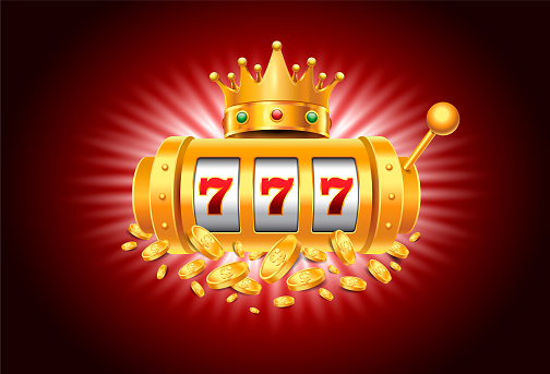 Casino Slot Machine with Royalty Crown and Falling Coins on the red Background. Vector Illustration