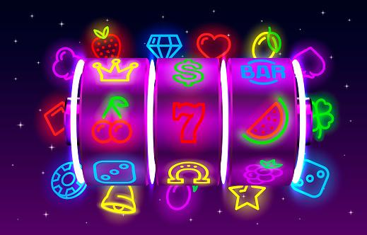 Casino slots neon icons, slot sign machine, night Vegas.