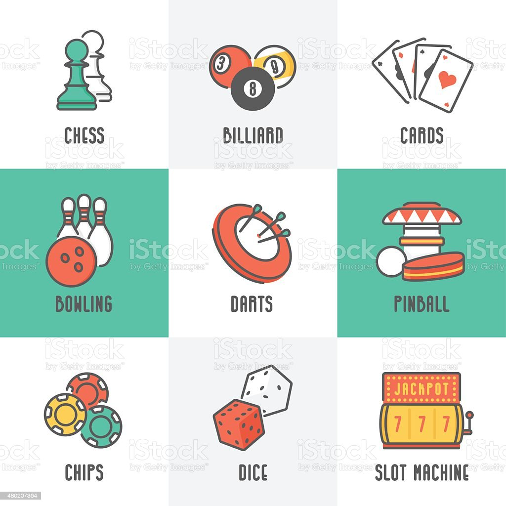 Casino Sport and Leisure Games Icons vector art illustration