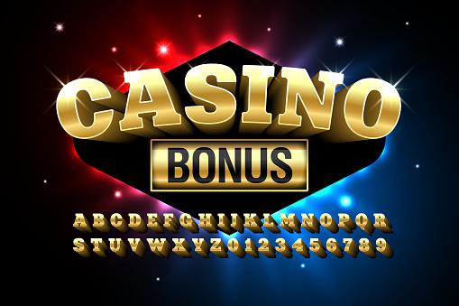 Casino style glossy font