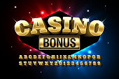 Casino style glossy font design, alphabet letters and numbers vector illustration