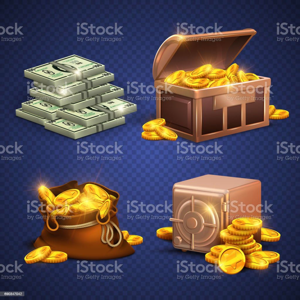 Casino vector 3d signs and money icons. Dollars, gold coins in safe deposit and moneybag vector art illustration