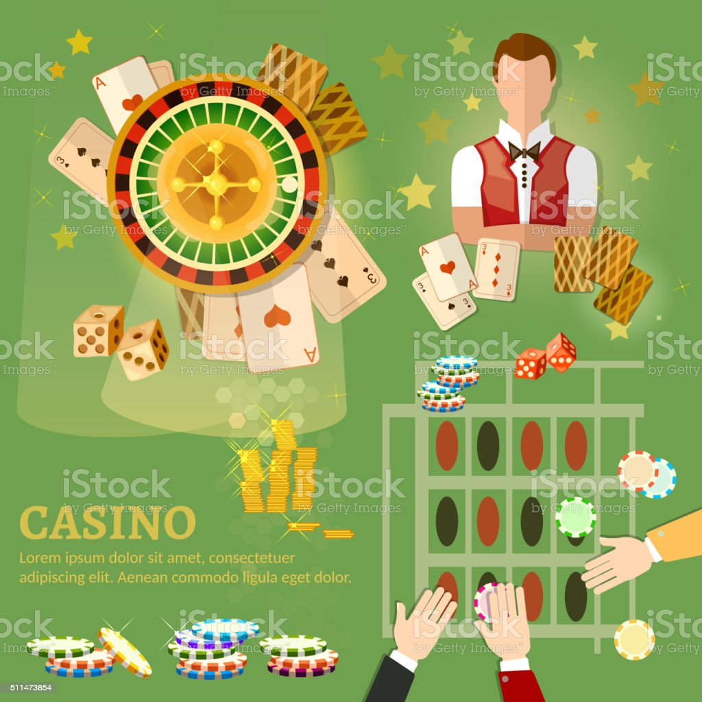 Casino vector illustration design with poker game playing cards vector art illustration