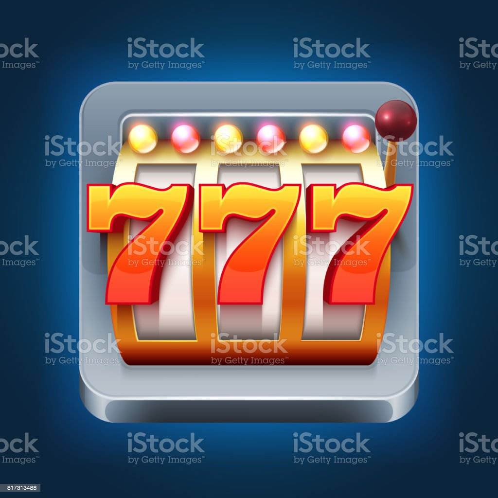Casino vector smartphone game icon with 777 win slot machine vector art illustration