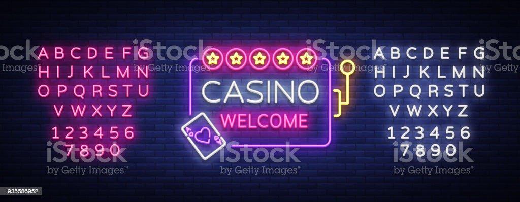 aa94c2cb790b62 Bienvenue dans le style néon Casino. Modèle de conception. Enseigne au  néon, bannière