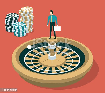 istock Casino Wheel Spinner - Businessman 1164457845