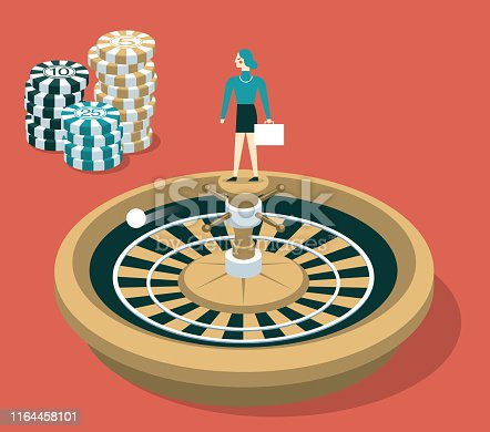 Business people with Financial Wheel of Fortune