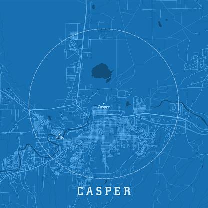 Casper WY City Vector Road Map Blue Text