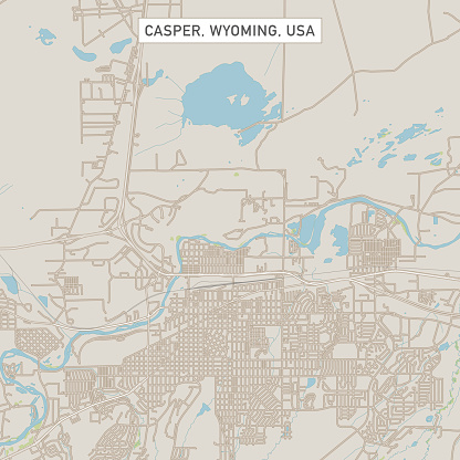 Casper Wyoming US City Street Map