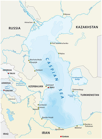 Caspian Sea Map Stock Illustration - Download Image Now - iStock