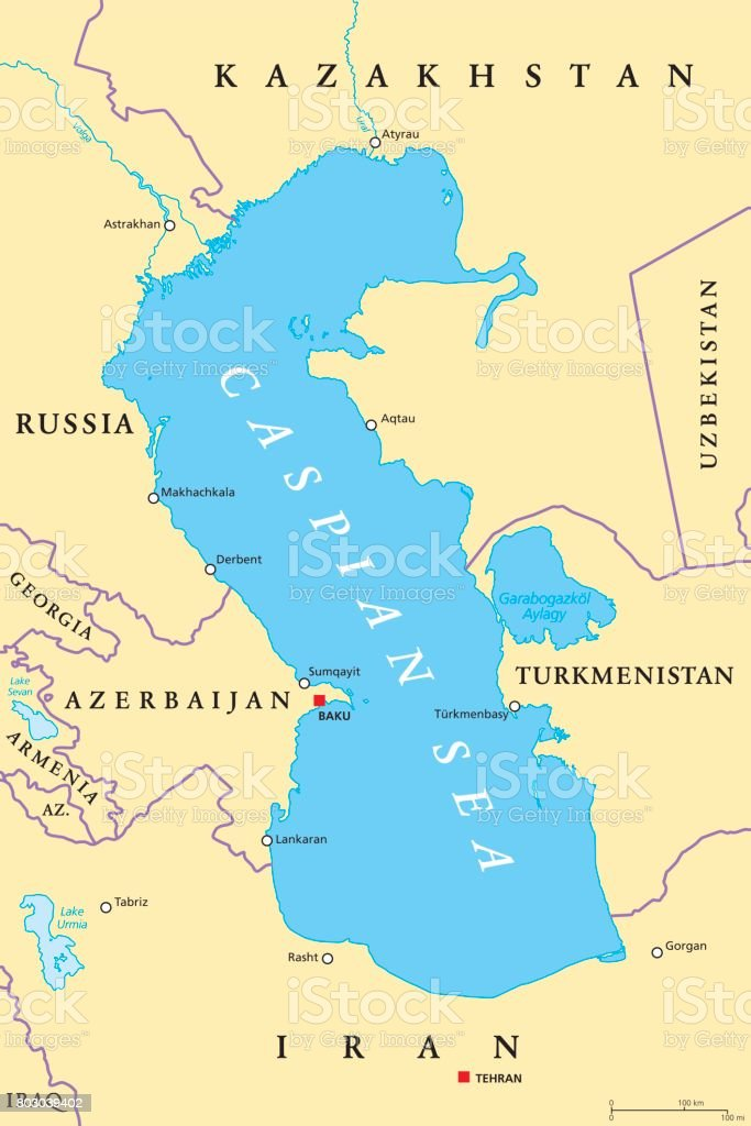 Caspian Sea Region Political Map Stock Vector Art More Images of