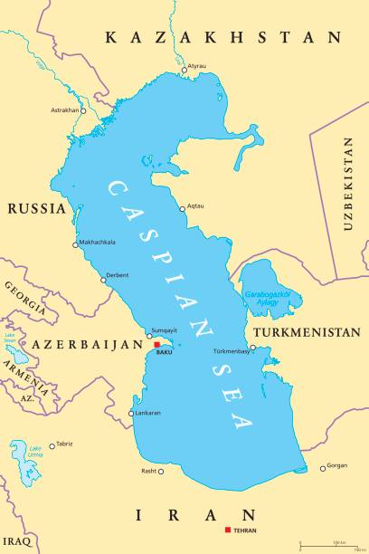 Caspian Sea region political map Caspian Sea region political map with most important cities, borders, rivers and lakes. Body of water, basin, and largest lake on earth between Europe and Asia. Illustration. English labeling. Vector. armenia country stock illustrations